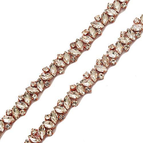 Yanstar Wedding Bridal Rose Gold Rhinestone Applique Trim Crystal Iron On Applique for Dress Sash Garter Belt By 1 Yard