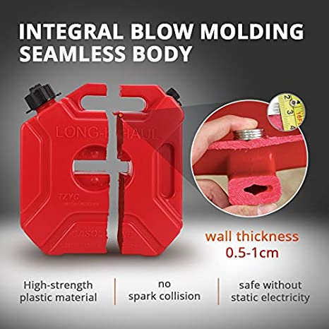 Auxmart 3L 5L Red Fuel Tank Cans Spare Plastic Petrol Tanks Mount Motorcycle Jerrycan Gas Can Gasoline Oil Container Fuel-jugs Color Name: 3L Fuel System