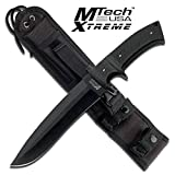 New Mtech Extreme 13'' Black Finger Guard Fixed Blade ProTactical'US - Limited Edition - Elite Knife with Sharp Blade w/ Molle Sheath