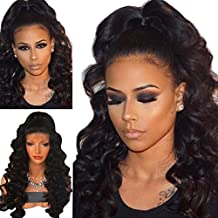 Maycaur Black Color Synthetic Lace Front Wig Loose Curly Synthetic Wigs For Women 24-26 Inch
