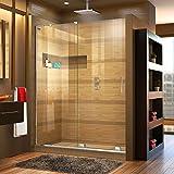 """walk in shower dimensions DreamLine Mirage-X 56-60 in. Width, Frameless Sliding Shower Door, 3/8"""" Glass, Chrome Finish"""