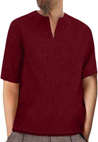 Men/'s T Shirt Blouse Formal Business V Neck Summer Solid Short Sleeve Pullover