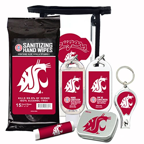 Washington State Cougars 6-Piece Fan Kit with Decorative Mint Tin, Nail Clippers, Hand Sanitizer, SPF 15 Lip Balm, SPF 30 Sunscreen, Sanitizer Wipes. NCAA Gifts for Men and Women