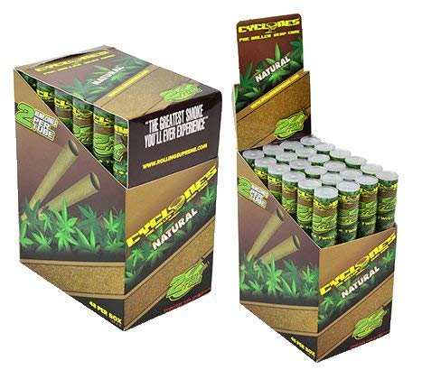 Cyclones Natural Flavored Pre-Rolled Hemp Wraps (Full Box, 48 Wraps) ()