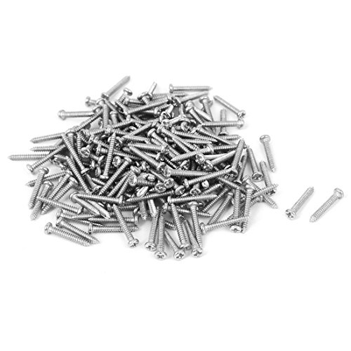 uxcell M1.8x12mm Thread Nickel Plated Round Head Self Tapping Screws 200pcs