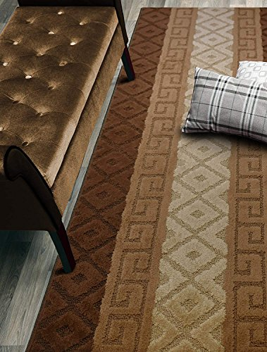 Custom Size Hallway Runner Rug, Slip Resistant, 26 Inch Wide X Your Choice of Length, Meander Brown, 26 Inch X 7 feet
