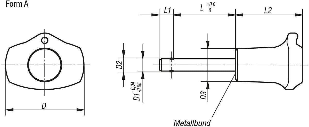 Diameter 10/mm Length 25/mm Pack of 1/K0363.4710025 Tilt Ball Nyloc Locking Pin Shape A THERMOPLASTIC