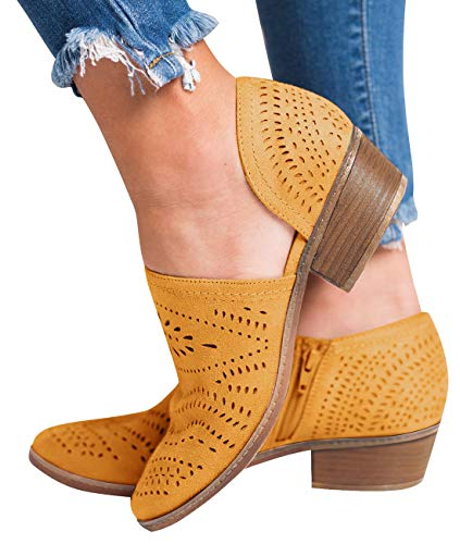 Blivener Women's Casual Slip On Loafer Pointed Toe Cut Out Slip On Office Dressy Ankle Boots New-Yellow 42 ()