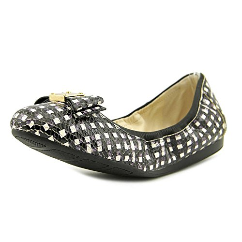Cole Haan Womens Tali Bow Ball Flat Black / White Grid
