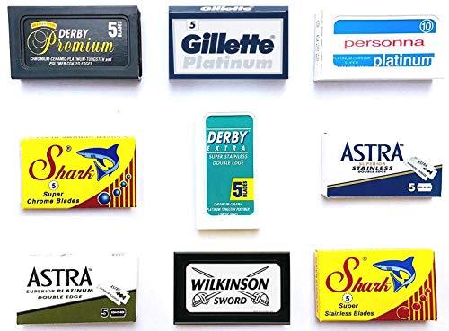 Astra-Derby-Shark-Wilkinson-Personna 50 Quality Double Edge Razor Blades Sampler (9 different brands) ()