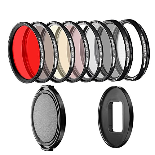 Neewer 58mm Filter Kit for GoPro 5 and GoPro 6 Includes Pro 58mm Filter Set (UV, CPL, FLD, ND2, ND8, Star 8, Red, Yellow Filters) with Adapter Ring and Lens Cap(GoPro NOT Included) by Neewer