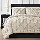 What Is an Eastern King Size Bed Luxurious 600 Thread Counts 1 Piece Pinch Pleated Duvet Cover Stain Resistant and Hypoallergenic 100% Egyptian Cotton (Eastern King Size, Ivory)- by AP Beddings