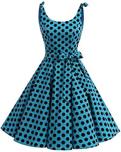 Vintage Black Bbonlinedress Vestidos con Estampado Retro de Cóctel Blue Rockabilly 1950 Bdot Lazo wISUPqHI