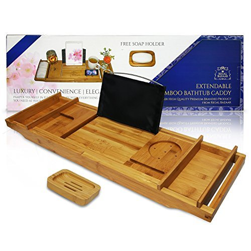 Regal Bazaar Bamboo Bath Tub Caddy Tray - Extending Sides, 2 Removable Spa Trays, Book Holding Stand, Cellphone Slot, Wine Glass and Cup Holders, and Non Slip Base - Free Soap Dish by Regal Bazaar