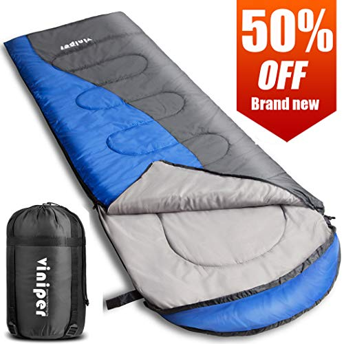 viniper Sleeping Bag, Comfort, Waterproof and Lightweight Envelope Sleeping Bag with Compression Sack Perfect for 4 Season Traveling, Camping, Hiking, Outdoor Fit Kid Women Men (Blue + Gray)