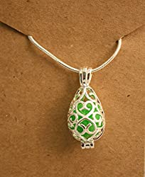 Destination Oils Silver Filigree Teardrop Shape Aromatherapy Essential Oil Diffuser Necklace- Includes 2 Extra Pads