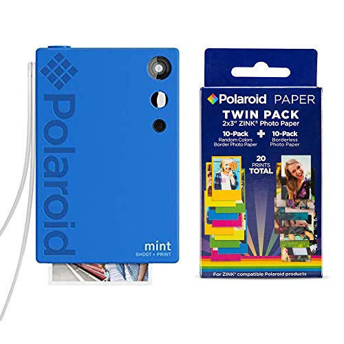 Polaroid Mint Instant Print Digital Camera (Blue), W/ 20 Pack Zink Zero Ink 2×3 Sticky-Backed Photo Paper