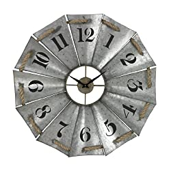 Sterling Industries Aluminum and Rope Wall Clock, 29 W x 29 H, Galvanized Metal/Natural