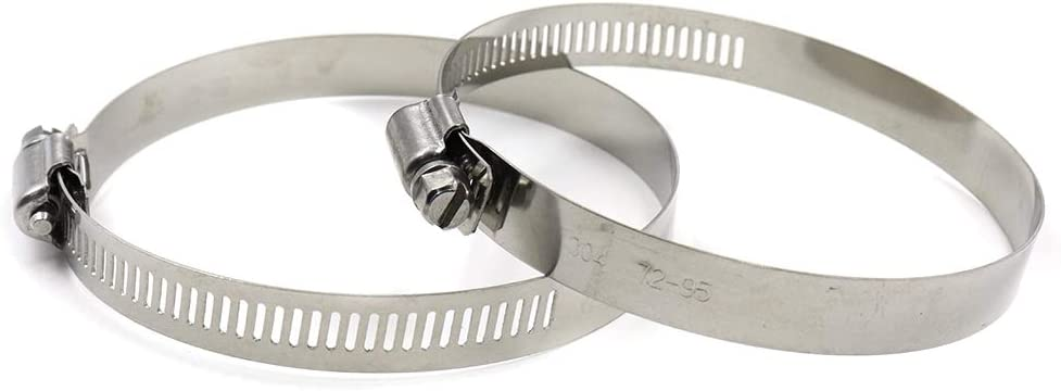 TUOREN Adjustable Stainless Steel American Worm Gear Hose Clamp 72-95mm Clamping Range-10pcs