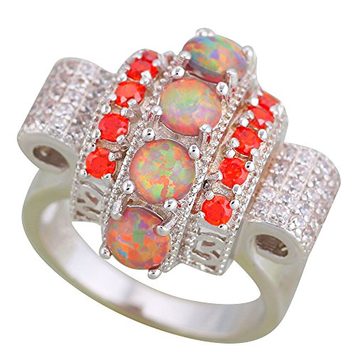 Brown Fire Opal 925 Silver Zircon Fashion Jewelry Ring for women USA OR895 (9)