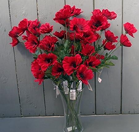 10 x artificial red 45cm poppy flowers permabloom mightylinksfo