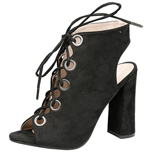 Block up Peep High Ankle Womens Suede Toe Heel Cadence Lace Faux Boots First Feet Fashion Black Xqz8UUA