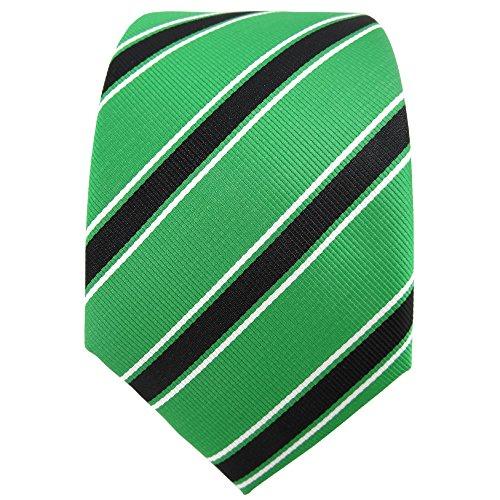 TigerTie Designer cravate vert brillant noir blanc rayé -