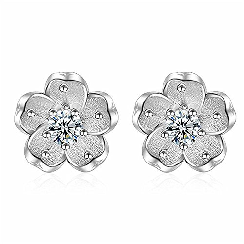 Yanvan 1 Pair Ear Stud for Women, Girls Women Earring Elegant Sterling Silver Earrings 3 Color Wedding Gift ()