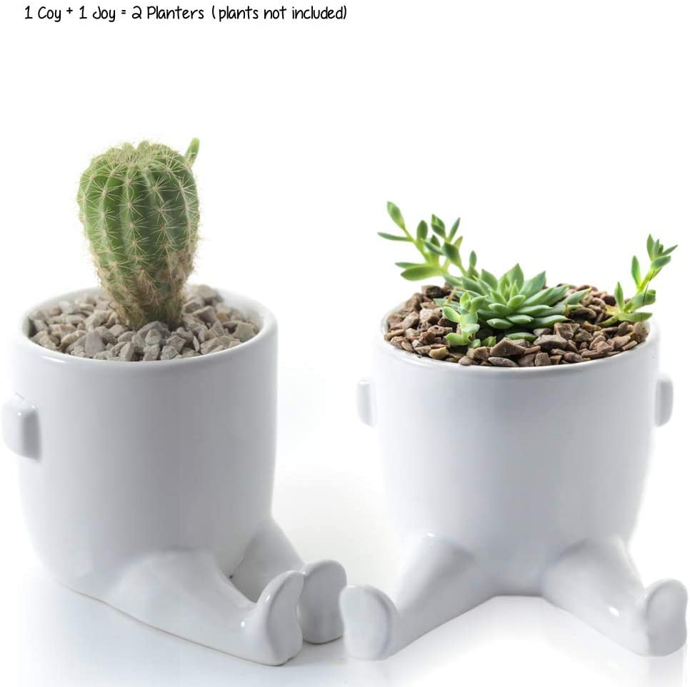 KOZitas Minimalist Pair of 2 Small Succulent Planter Pots with Legs Mini Room Decor Flower Indoor Planter Terrarium Cactus, Herbs, Plants and Flowers