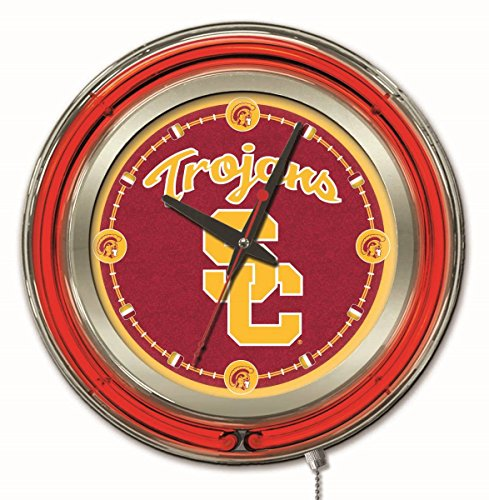 Holland Bar Stool Company NCAA USC Trojans Double Neon Ring 15-Inch Diameter Logo Clock ()