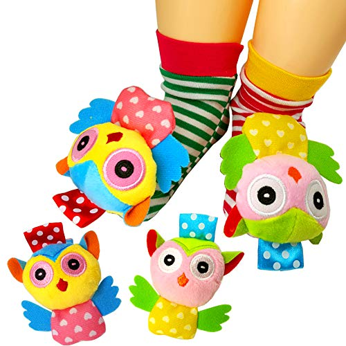 (COSMARK Infant Socks Toys, Baby Animal Wrist Rattles and Foots Finder Socks Set, Educational Development Soft Toy (4 Packs) (owl))