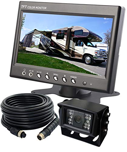 """AUTOPAL 7""""Wired Reverse Rear View Backup Camera System, Reverse/Continuous Use,NIGHT VISION WATERPROOF IP69K VIBRATION-PROOF 10G for TRACTOR/TRUCK/RV/MOTORHOME/EXCAVATOR/CARAVAN/SKID STEER/HEAVY EQUIP"""