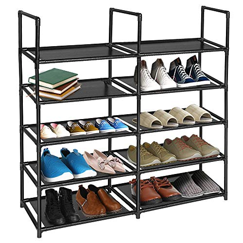 barsone Shoe Rack, Double Row 5-Tier Stable Shoe Organizer 20-25 Pairs Space Saving Shoe Tower, Non-Woven Fabric Shoe Shelf in Closet Entryway Hallway Living Room