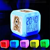 Alarm Clock 7 LED Color Changing Wake Up Bedroom with Data and Temperature Display (Changable Color) Customize the pattern-330.My girl puppy dog snowdog puppydog snow snowday photo