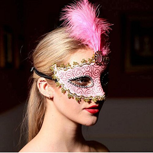 [Dongcrystal Feather Masquerade Masks For Halloween Costumes Party Ball-Pink] (Butterfly Costume For Men)