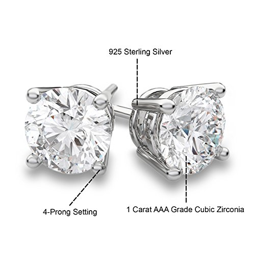 Bellux Style Women's 2-Piece Classic Wedding Engagement Rings Stainless Steel 2.3 Carats Cubic Zirconia Anniversary Promise Ring Band CZ Bridal Set for Her Size 8 + Sterling Silver Earrings by Bellux Style (Image #5)