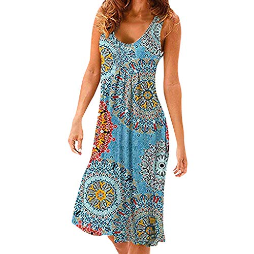 ANJUNIE Women's Print Knee Length Tank Sun Dresses Pleated Sleeveless Swing Simple Loose Dresses(Light Blue,M) (L S3 Mini)