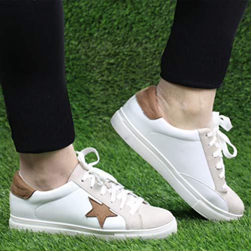 Women's Skate Lace Up Tennis Shoes Fashion Sneakers Casual Sport Flat Shoes DL White Mustal 9