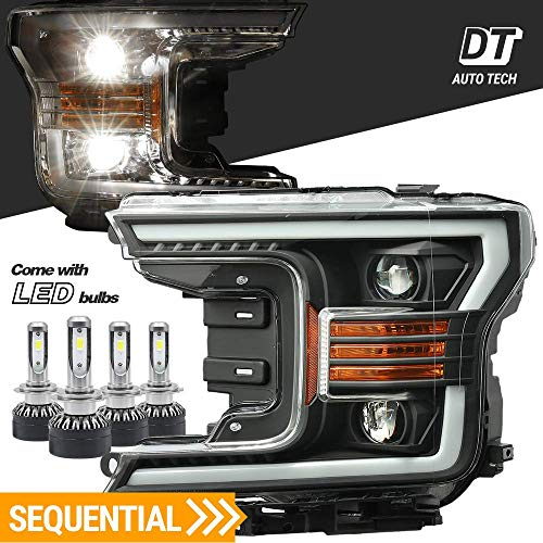 ow Beams Headlights Headlamps Assembly Switchback DRL+Turn Signal For 2018-2019 Ford F-150 F150 (Black projector with LED light bulbs with Sequential Amber Turn Signal) ()