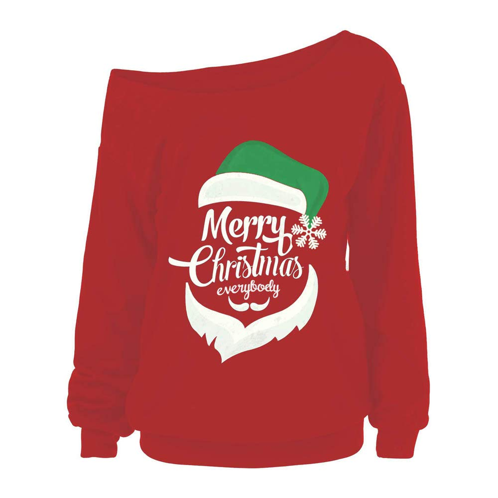 FEDULK Clearance Christmas Blouse Women Santa Claus Print Sweatshirt Off Shoulder Ugly Pullover Tops(Red,US Size L = Tag XL)