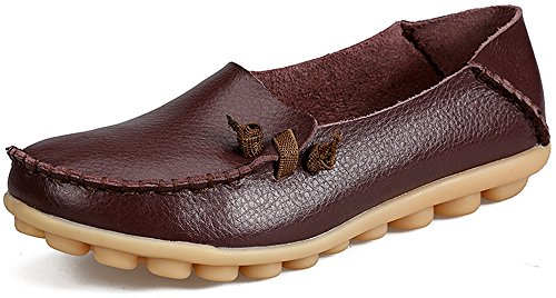 LabatoStyle Women's Genuine Leather Flats Casual Moccasin Driving Loafers Shoes (Brown, 8 B(M) US)