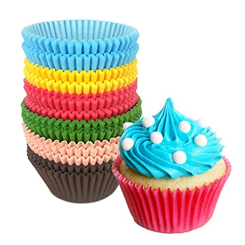 Fun Cupcake Liners | Set of 300 Special Rainbow Party Cupcake Muffin Standard Wrappers Paper Baking Cups | Food Grade Grease Proof Heat and Water Resistant Not Fade Not Pasted | 1264.2