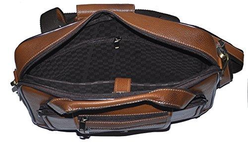 laveri auténtica maletín portátil Messenger de piel cruzado bolso bandolera 423 canela