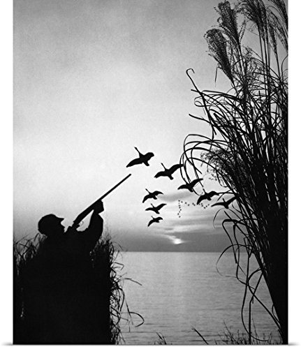 Great Big Canvas Poster Print entitled Man duck-hunting
