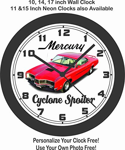 Jim's Classic Clocks 1970 Mercury Cyclone Spoiler Big 10 INCH Wall Clock-Free USA -