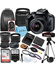 $484 » Canon EOS 4000D / Rebel T100 DSLR Camera with EF-S 18-55mm Lens + 64GB SanDisk Memory Card, Tripod, Flash, Backpack + ZeeTech Accessory Bundle