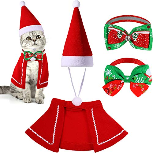 SATINIOR Christmas Cat Costume Includes Christmas Cat Cloak, Santa Hat and 2 Pieces Christmas Cat Collar Pet Outfits…