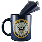 "US Navy Coffee Mug/Cup with 12"" x 18"" United States Navy Double Sided Polyester Flag - Gift Boxed"