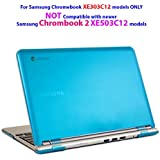 "iPearl mCover Hard Shell Case for 11.6"" Samsung XE303C12 series Chromebook (Wi-Fi or 3G) laptop (Not Compatible with Samsung Chrombook 2: XE503C12) - AQUA"