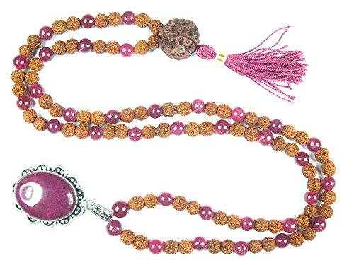Mogul Intérieur Collier Yoga Pierre de Love- Rose Jade Rudraksha Méditation Japamala Perles